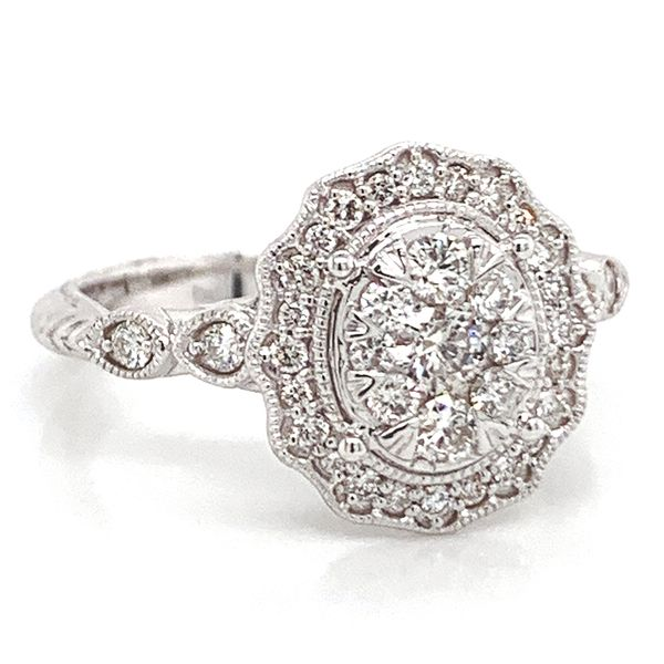 Oval Halo Diamond Cluster Ring in White Gold (0.62 ctw) Image 2 Bremer Jewelry Peoria, IL