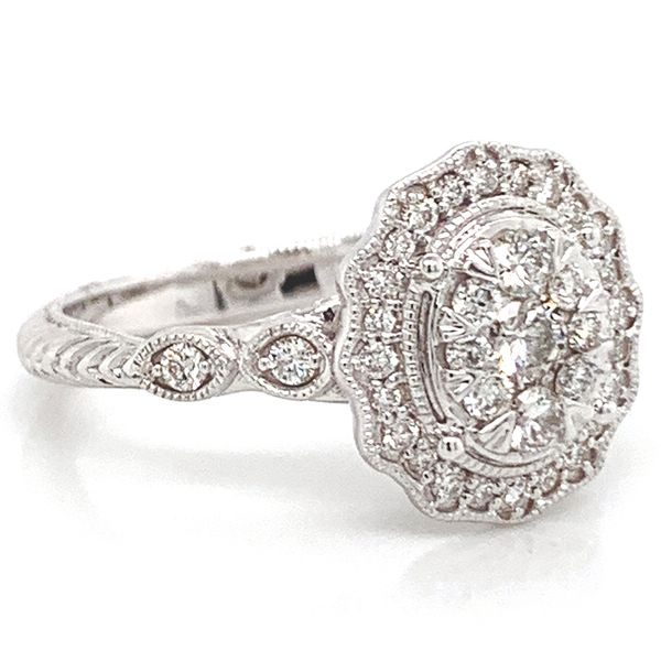 Oval Halo Diamond Cluster Ring in White Gold (0.62 ctw) Image 3 Bremer Jewelry Peoria, IL