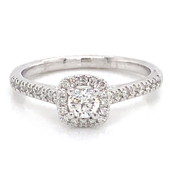 Cushion Halo Diamond Engagement Ring in White Gold (0.50 ctw) Bremer Jewelry Peoria, IL