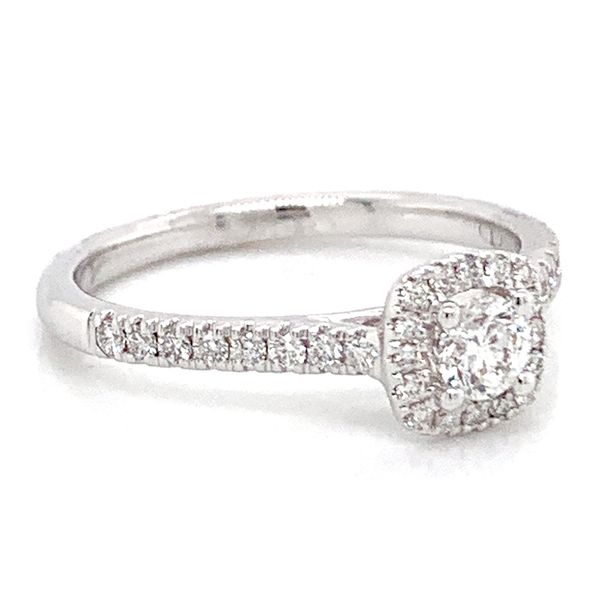 Cushion Halo Diamond Engagement Ring in White Gold (0.50 ctw) Image 3 Bremer Jewelry Peoria, IL