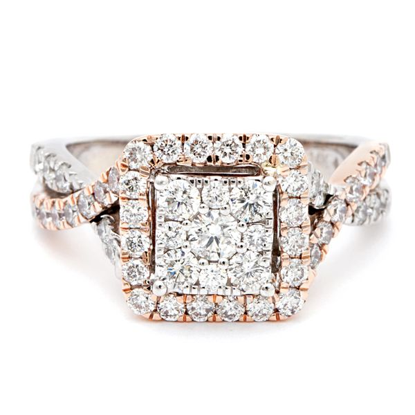 Pre-Owned Diamond Cluster Halo Ring in Rose and White Gold (1.00 ctw) Bremer Jewelry Peoria, IL