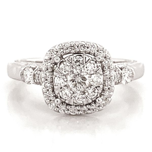 Cushion Halo Diamond Cluster Ring in White Gold (0.75 ctw) Bremer Jewelry Peoria, IL