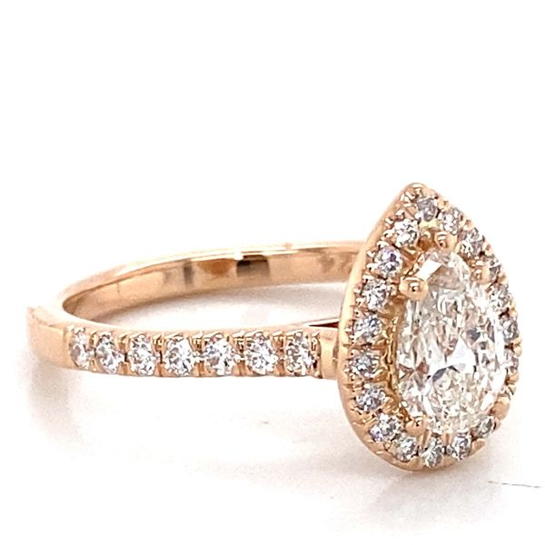 Pear Diamond Engagement Ring in Rose Gold (1.11 ctw) Image 3 Bremer Jewelry Peoria, IL
