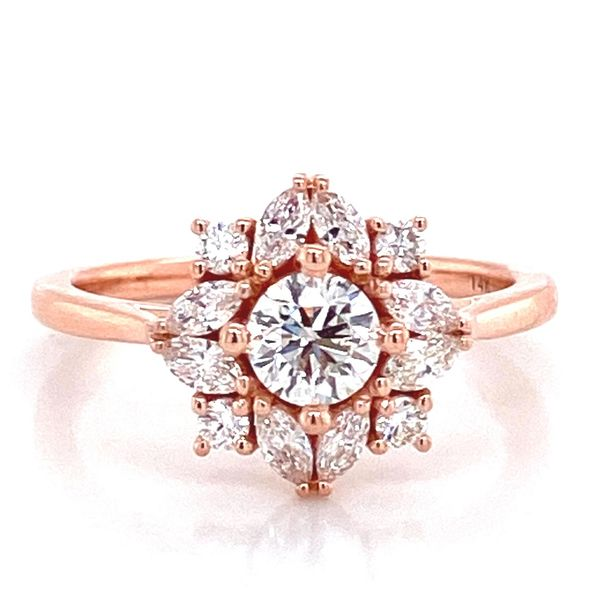 Round Diamond Engagement Ring in Rose Gold (0.97 ctw) Bremer Jewelry Peoria, IL