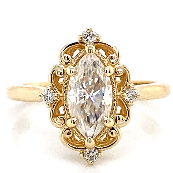 Vintage Marquise Moissanite Engagement Ring in Yellow Gold Bremer Jewelry Peoria, IL