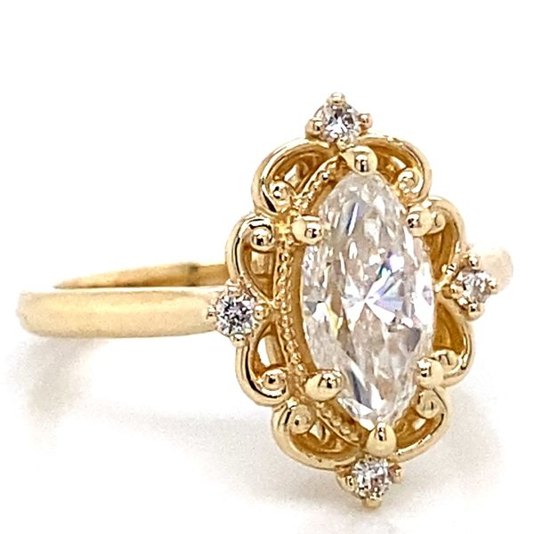 Vintage Marquise Moissanite Engagement Ring in Yellow Gold Image 2 Bremer Jewelry Peoria, IL