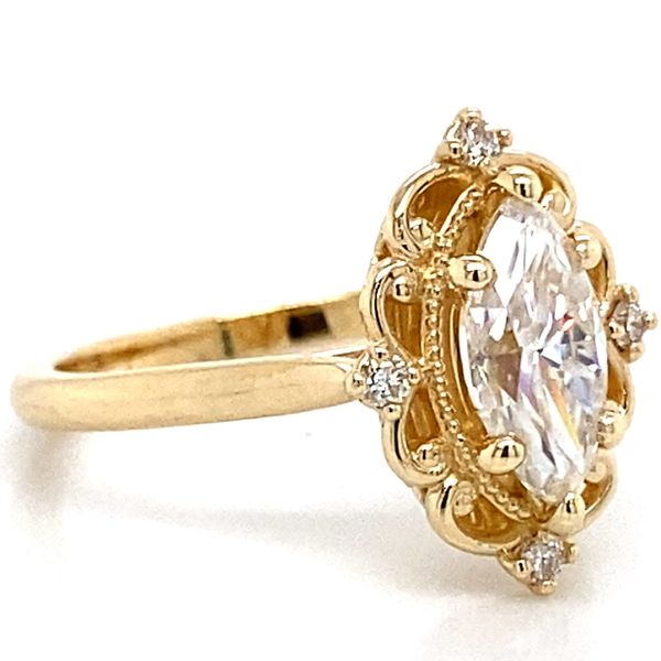 Vintage Marquise Moissanite Engagement Ring in Yellow Gold Image 3 Bremer Jewelry Peoria, IL