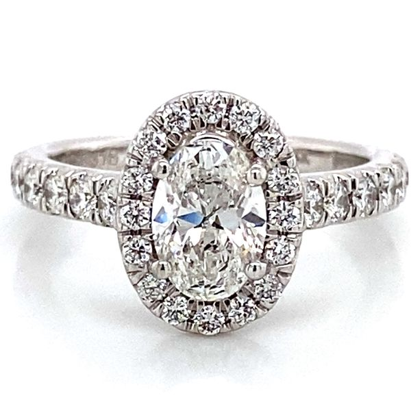 Oval Diamond Halo Engagement Ring in White Gold (1.70 ctw) Bremer Jewelry Peoria, IL