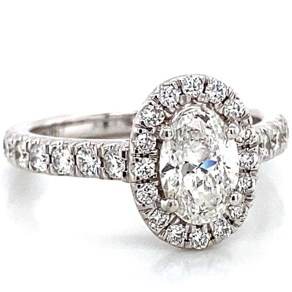 Oval Diamond Halo Engagement Ring in White Gold (1.70 ctw) Image 2 Bremer Jewelry Peoria, IL