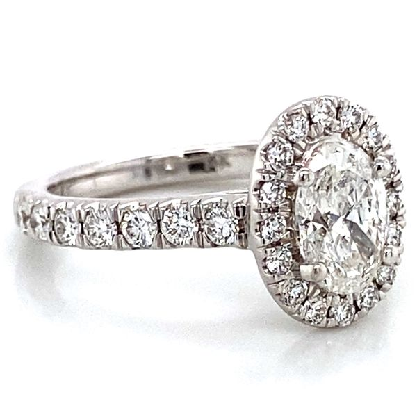 Oval Diamond Halo Engagement Ring in White Gold (1.70 ctw) Image 3 Bremer Jewelry Peoria, IL