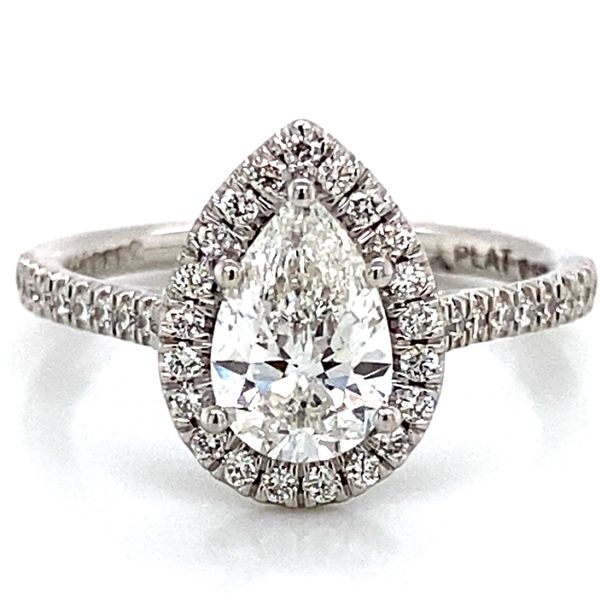 Pear Shaped Halo Diamond Engagement Ring in Platinum (1.39 ctw) Bremer Jewelry Peoria, IL