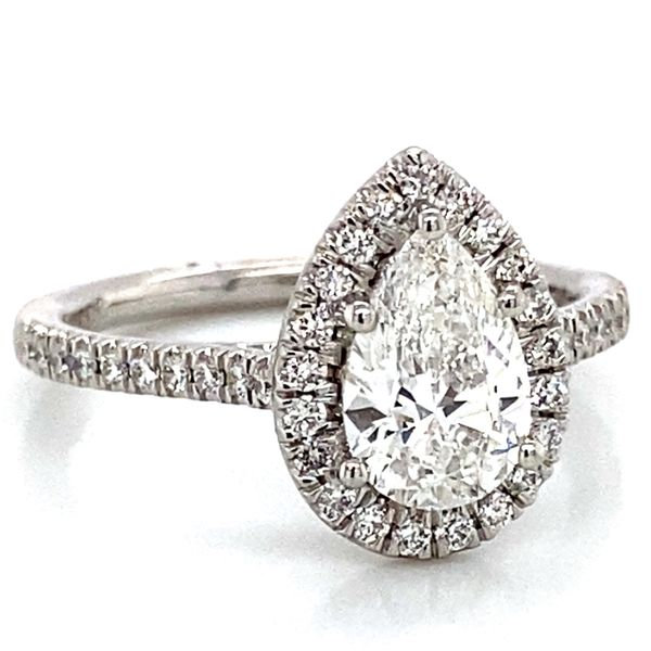 Pear Shaped Halo Diamond Engagement Ring in Platinum (1.39 ctw) Image 2 Bremer Jewelry Peoria, IL