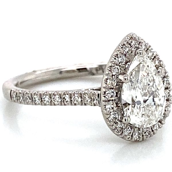 Pear Shaped Halo Diamond Engagement Ring in Platinum (1.39 ctw) Image 3 Bremer Jewelry Peoria, IL