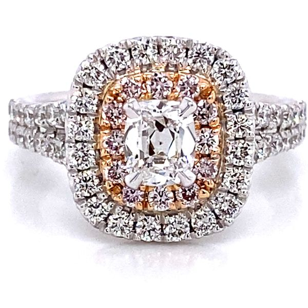 Henri Daussi Diamond Engagement Ring in White and Rose Gold (1.56 ctw) Bremer Jewelry Peoria, IL