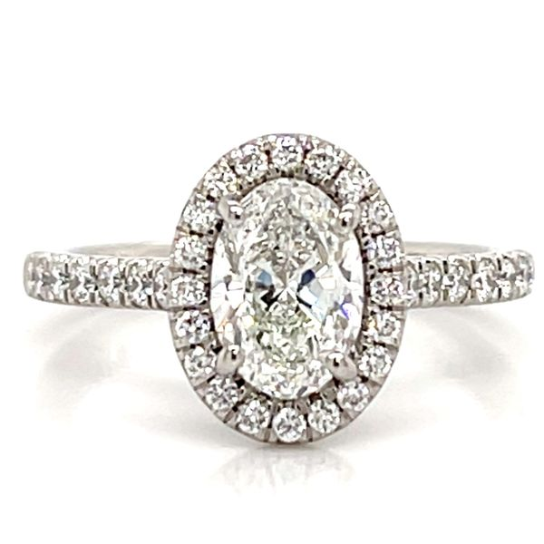 Oval Diamond Halo Engagement Ring in Platinum (1.41 ctw) Bremer Jewelry Peoria, IL
