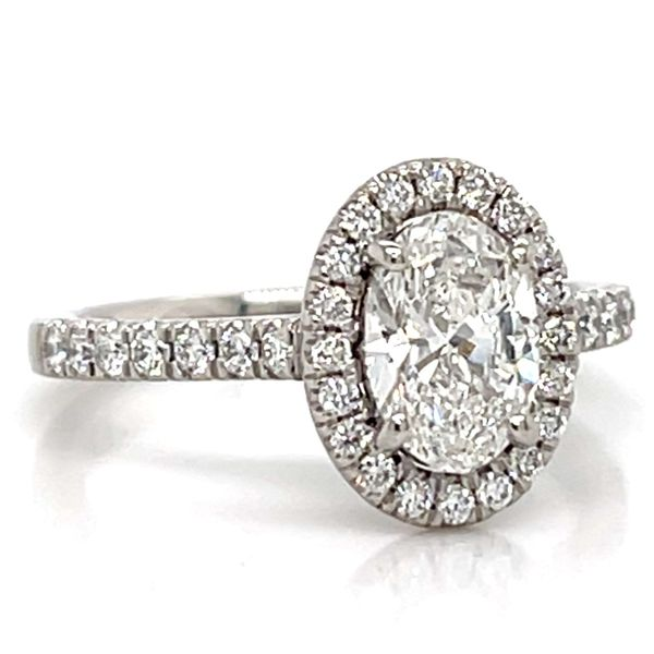 Oval Diamond Halo Engagement Ring in Platinum (1.41 ctw) Image 2 Bremer Jewelry Peoria, IL