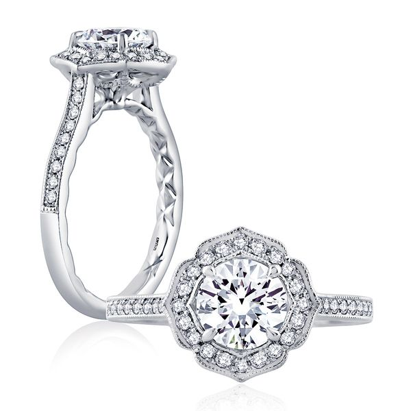 A.JAFFE Seasons Of Love 14k White Gold Diamond Engagement Ring Setting Bremer Jewelry Peoria, IL