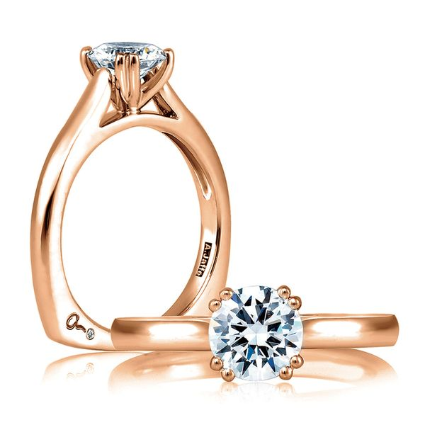 A.JAFFE Classics Solitaire Engagement Ring Setting in Rose Gold Bremer Jewelry Peoria, IL