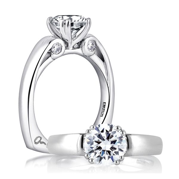 A.JAFFE Classics 18k White Gold Diamond Engagement Ring Setting Bremer Jewelry Peoria, IL