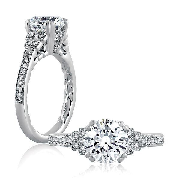 A.JAFFE Art Deco Engagement Ring Setting in White Gold Bremer Jewelry Peoria, IL