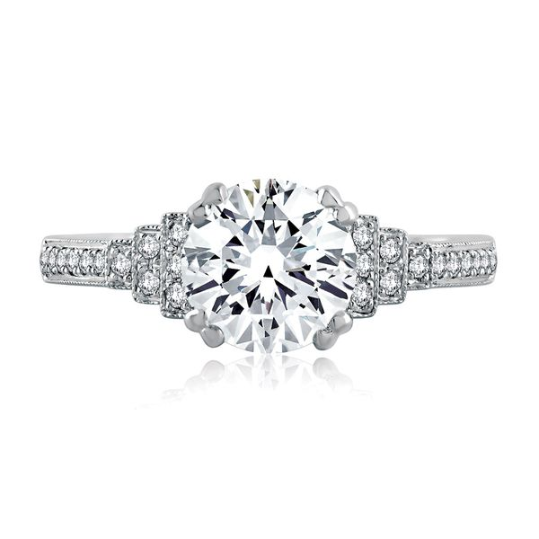 A.JAFFE Art Deco Engagement Ring Setting in White Gold Image 2 Bremer Jewelry Peoria, IL