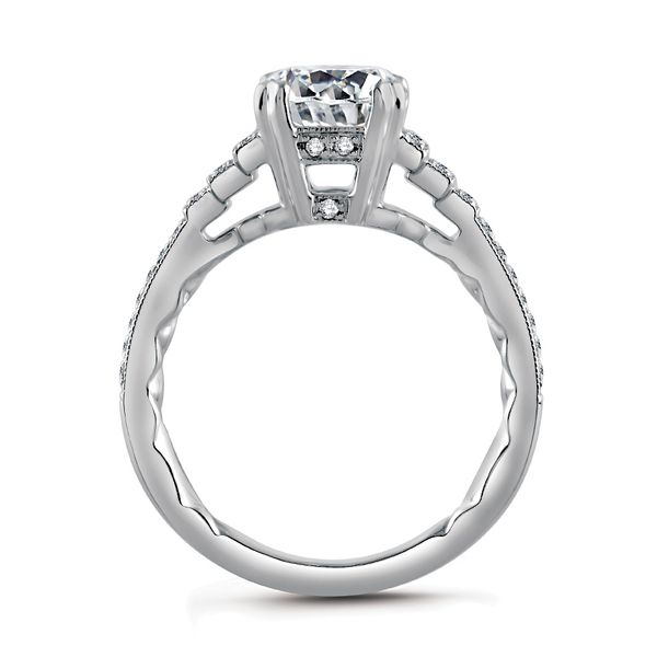 A.JAFFE Art Deco Engagement Ring Setting in White Gold Image 3 Bremer Jewelry Peoria, IL