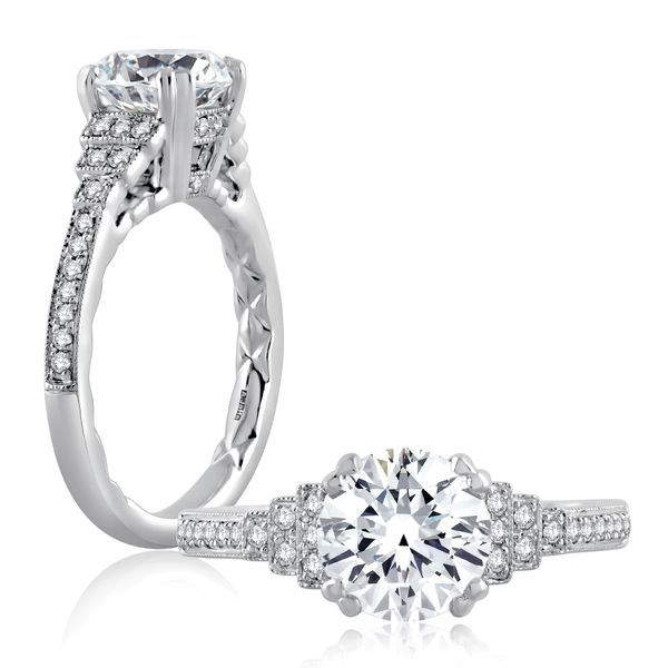 A. Jaffe Engagement Ring Setting in White Gold Image 3 Bremer Jewelry Peoria, IL