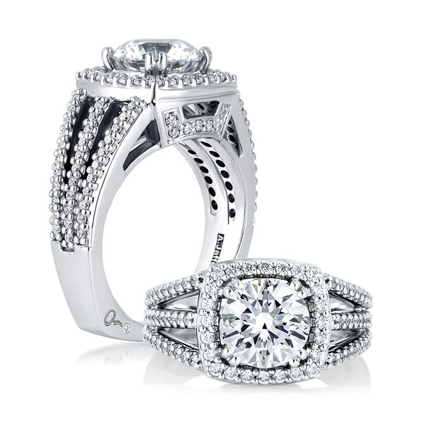 A.JAFFE Metropolitan 14k White Gold Diamond Engagement Ring Setting Bremer Jewelry Peoria, IL