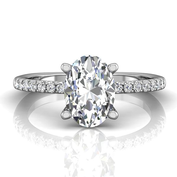 Oval Diamond Engagement Ring Setting in White Gold Image 2 Bremer Jewelry Peoria, IL