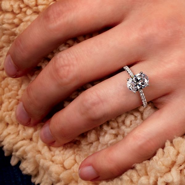 Oval Diamond Engagement Ring Setting in White Gold Image 5 Bremer Jewelry Peoria, IL