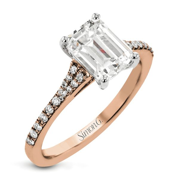 Simon G. Emerald Diamond Engagement Ring Setting in Rose Gold Bremer Jewelry Peoria, IL