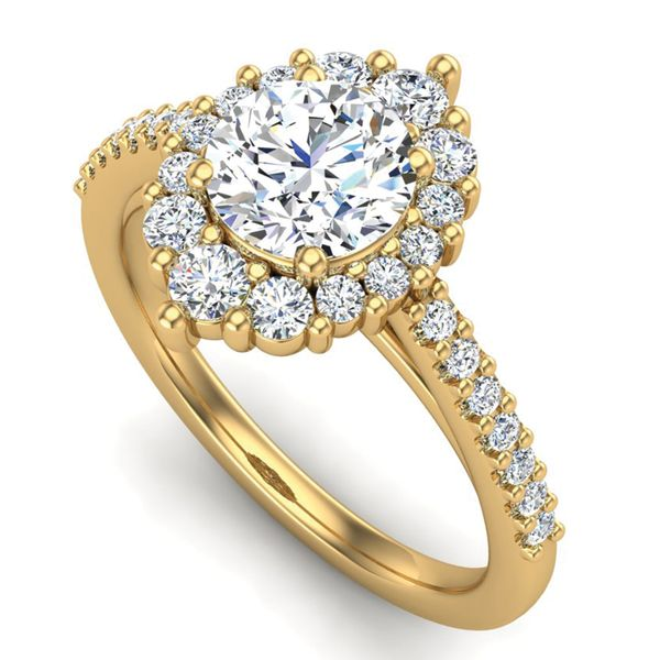 Oval Halo Diamond Engagement Ring Setting in Yellow Gold Image 2 Bremer Jewelry Peoria, IL