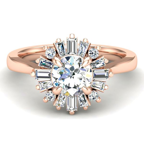 Baguette Diamond Halo Engagement Ring Setting in Rose Gold Bremer Jewelry Peoria, IL