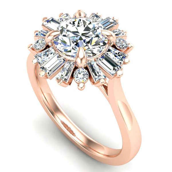 Baguette Diamond Halo Engagement Ring Setting in Rose Gold Image 2 Bremer Jewelry Peoria, IL
