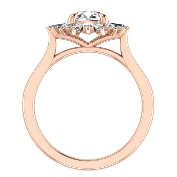 Baguette Diamond Halo Engagement Ring Setting in Rose Gold Image 4 Bremer Jewelry Peoria, IL