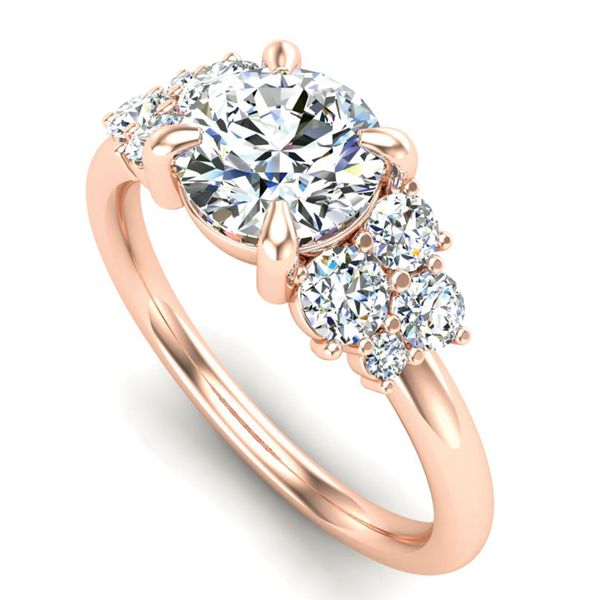 Diamond Clusters Engagement Ring Setting in Rose Gold Image 2 Bremer Jewelry Peoria, IL