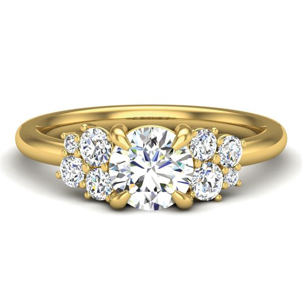 Diamond Clusters Engagement Ring Setting in Yellow Gold Bremer Jewelry Peoria, IL