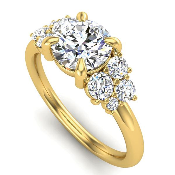 Diamond Clusters Engagement Ring Setting in Yellow Gold Image 2 Bremer Jewelry Peoria, IL