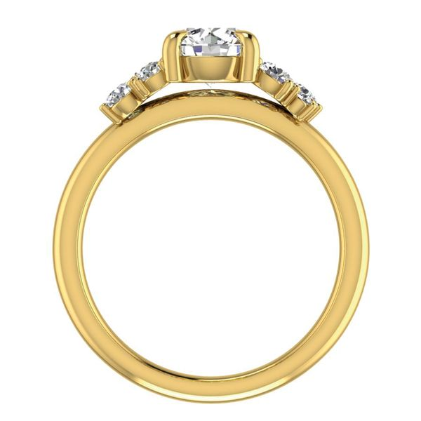 Diamond Clusters Engagement Ring Setting in Yellow Gold Image 4 Bremer Jewelry Peoria, IL