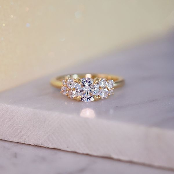 Diamond Clusters Engagement Ring Setting in Yellow Gold Image 5 Bremer Jewelry Peoria, IL