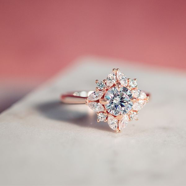 Marquise Diamond Halo Engagement Ring Setting In Rose Gold Bremer Jewelry Peoria Il