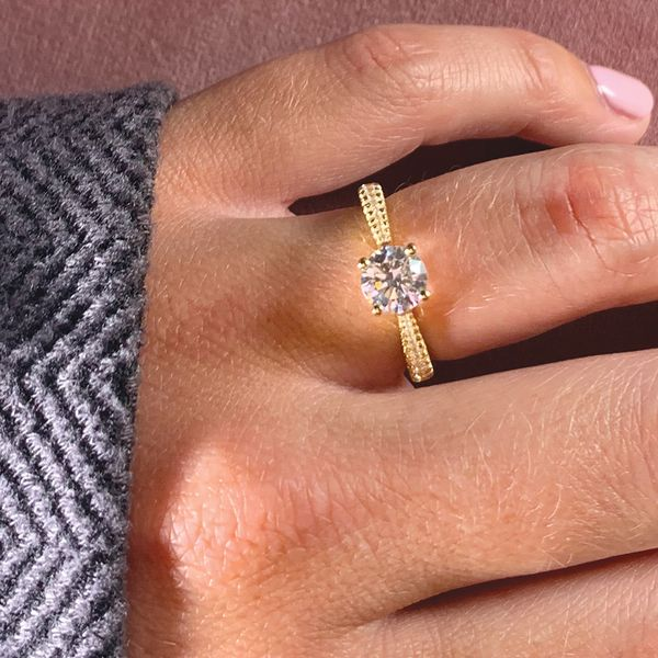 Round Diamond Engagement Ring Setting in Yellow Gold Image 4 Bremer Jewelry Peoria, IL