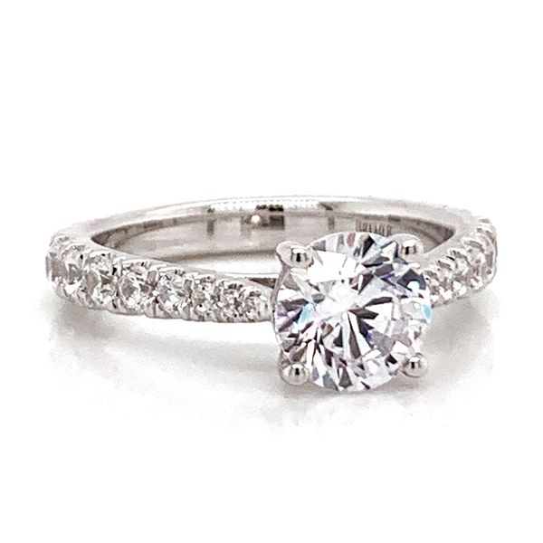 Round Diamond Engagement Ring Setting in White Gold Image 2 Bremer Jewelry Peoria, IL
