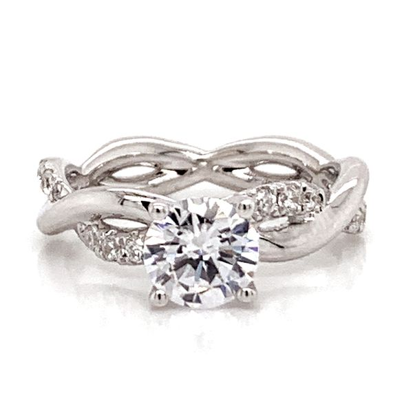 Round Diamond Twist Engagement Ring Setting in White Gold Bremer Jewelry Peoria, IL