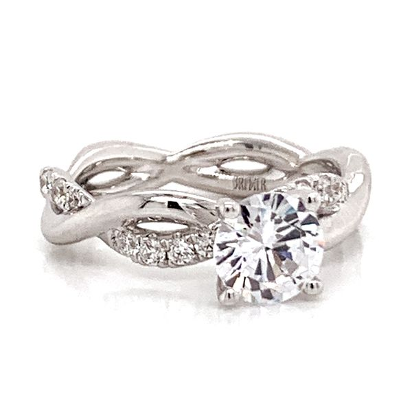 Round Diamond Twist Engagement Ring Setting in White Gold Image 2 Bremer Jewelry Peoria, IL