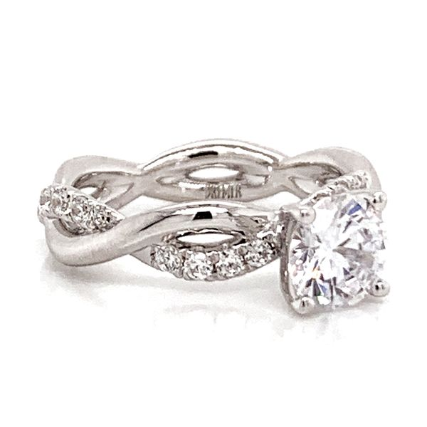 Round Diamond Twist Engagement Ring Setting in White Gold Image 3 Bremer Jewelry Peoria, IL