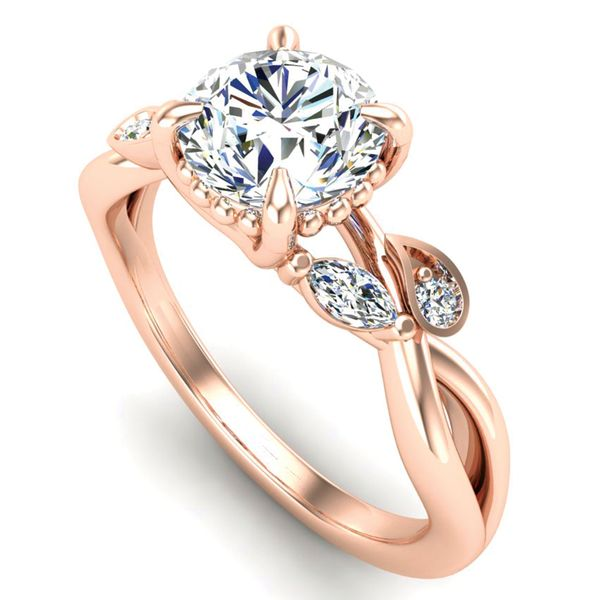 Woven Vines Diamond Engagement Ring Setting in Rose Gold Image 2 Bremer Jewelry Peoria, IL