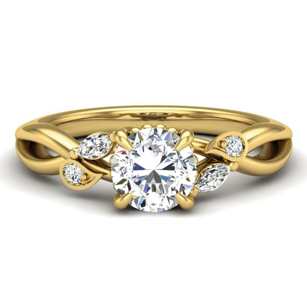 Woven Vines Diamond Engagement Ring Setting in Yellow Gold Bremer Jewelry Peoria, IL