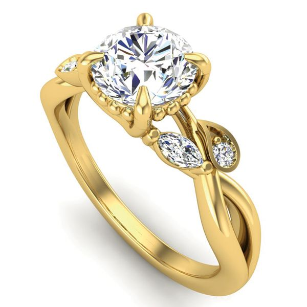 Woven Vines Diamond Engagement Ring Setting in Yellow Gold Image 2 Bremer Jewelry Peoria, IL