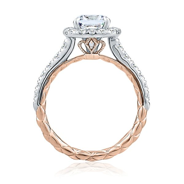 A. Jaffe Modern Royal Halo Engagement Ring Setting in White and Rose Gold Image 2 Bremer Jewelry Peoria, IL